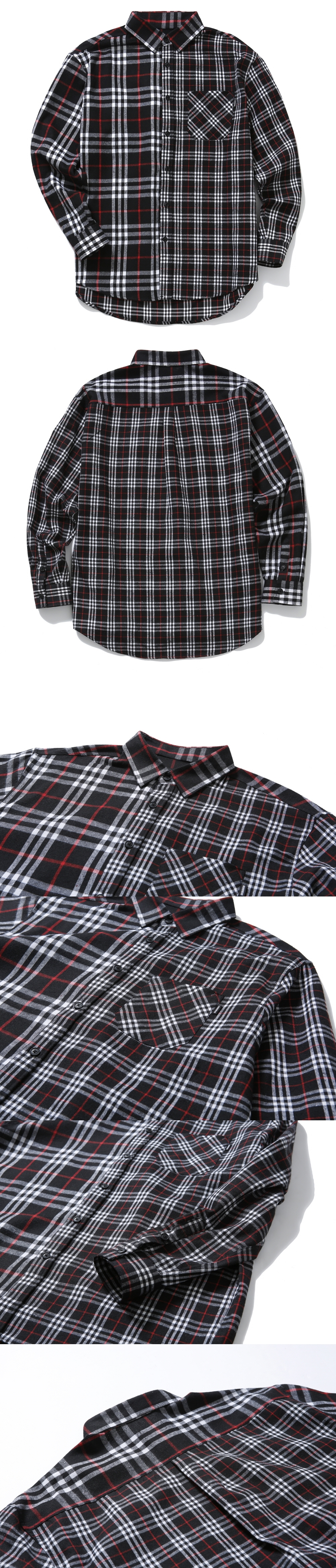 본헤드(BONEHEAD) 18FW MIXED CHECK SHIRT (BLACK)